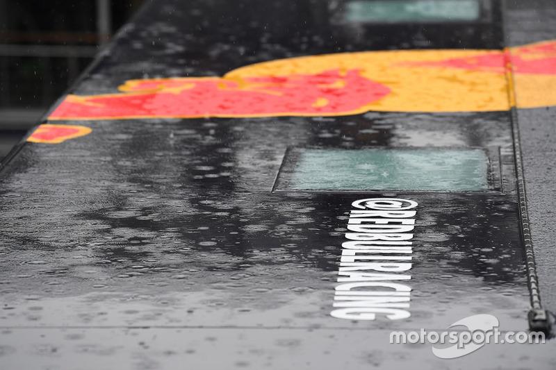 Red Bull Racing logo and rain