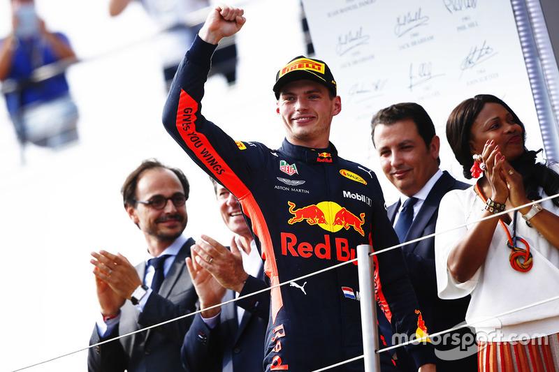 Max Verstappen, Red Bull Racing, celebra su segunda plaza en el GP de Francia 2018