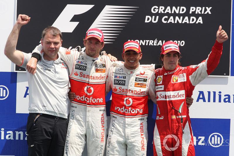 2010: 1. Льюис Хэмилтон, 2. Дженсон Баттон, 3. Фернандо Алонсо