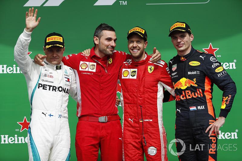 Sebastian Vettel, Ferrari, celebrates on the podium with Valtteri Bottas, Mercedes AMG F1 and Max Verstappen, Red Bull Racing