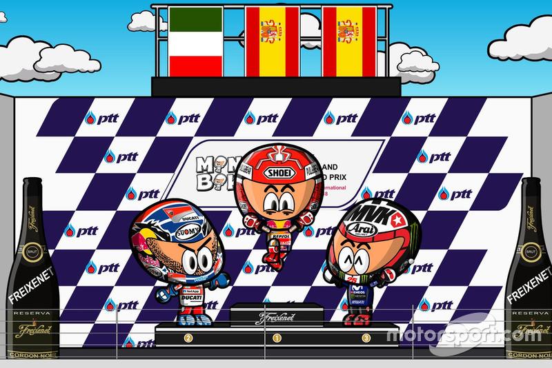 El podio del GP de Tailandia de MotoGP de Minibikers