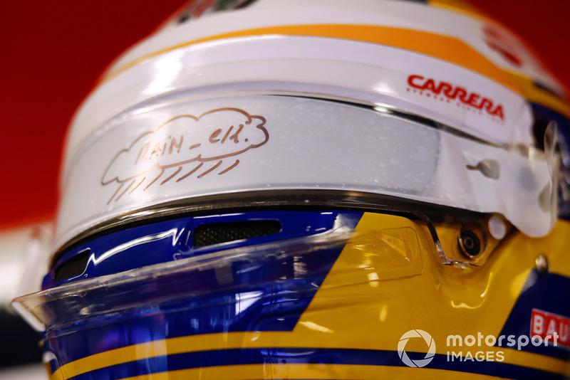 Visiera per la bioggia sul casco di Marcus Ericsson, Sauber