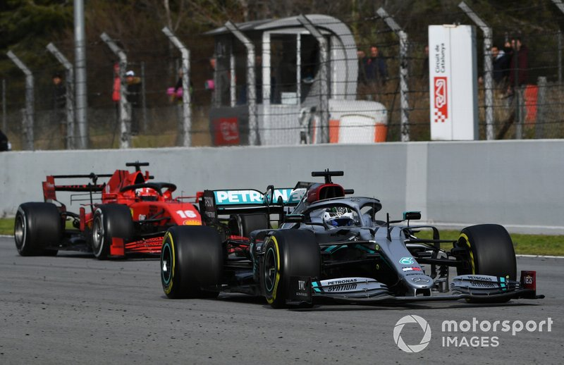 Valtteri Bottas, Mercedes F1 W11 EQ Performance, leads Charles Leclerc, Ferrari SF1000