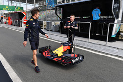 Red Bull Racing mechanics and Red Bull Racing RB14 nose and front wing