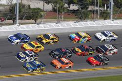 David Ragan, Front Row Motorsports Ford Fusion, Chase Elliott, Hendrick Motorsports Chevrolet Camaro, Joey Logano, Team Penske Ford Fusion and Alex Bowman, Hendrick Motorsports Chevrolet Camaro