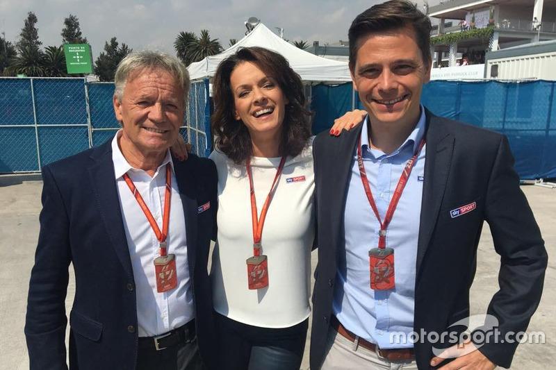Marc Surer, Tanja Bauer und Sascha Roos, SKY German TV journalists