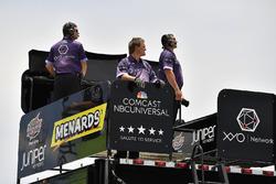 Brandon Jones, Joe Gibbs Racing, Toyota Camry Toyota Comcast/NBC Universal Salute To Service crew atop their hauler
