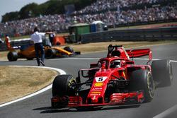 Race winner Sebastian Vettel, Ferrari SF71H, celebrates on his way to Parc Ferme