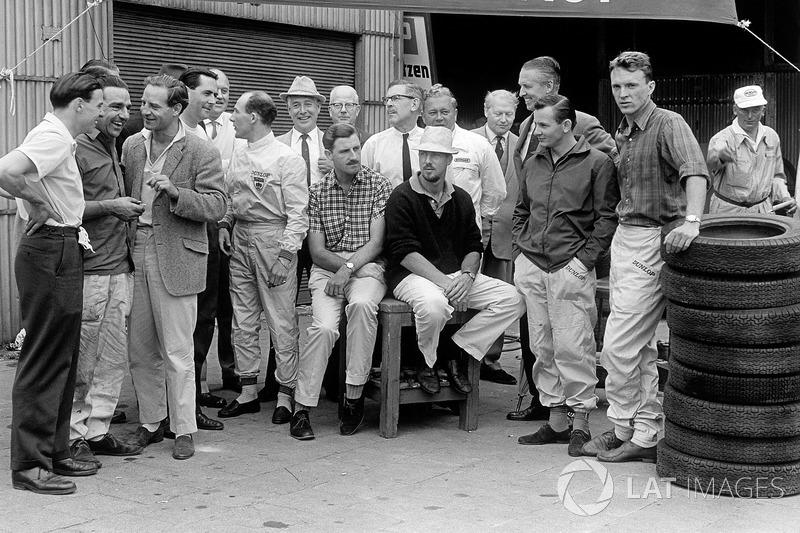 Jim Clark, John Cooper, Innes Ireland, Jack Brabham, Stirling Moss, Graham Hill, Jo Bonnier, Bruce McLaren and Dan Gurney
