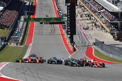 Sebastian Vettel, Ferrari SF70H and Lewis Hamilton, Mercedes-Benz F1 W08  at the start of the race