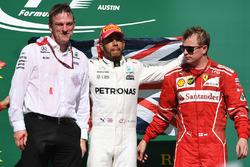 James Allison, Mercedes AMG F1 Technical Director, winner Lewis Hamilton, Mercedes AMG F1 and third place Kimi Raikkonen, Ferrari celebrate on the podium