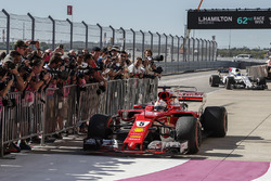 Sebastian Vettel, Ferrari SF70H arrives and celebrates in parc ferme