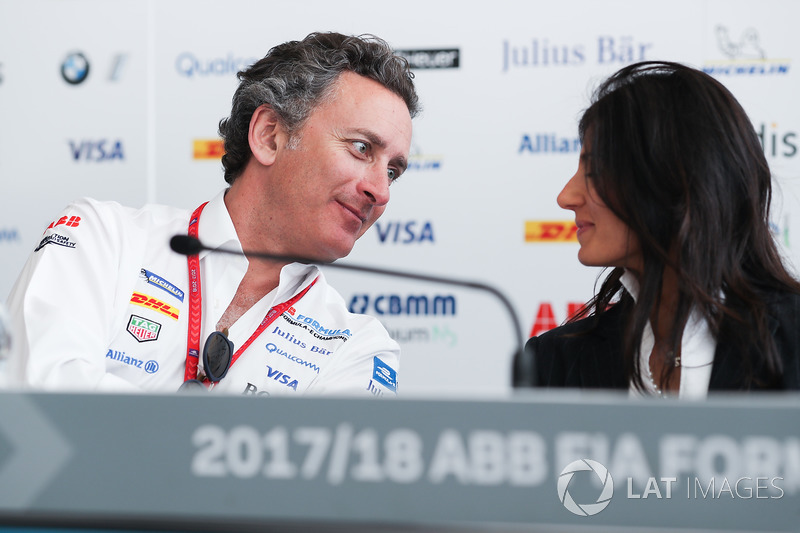 Alejandro Agag, CEO, Formula E, talks to Virginia Elena Raggi, Mayor of Rome