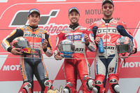 Podium: race winner Andrea Dovizioso, Ducati Team, second place Marc Marquez, Repsol Honda Team, third place Danilo Petrucci, Pramac Racing