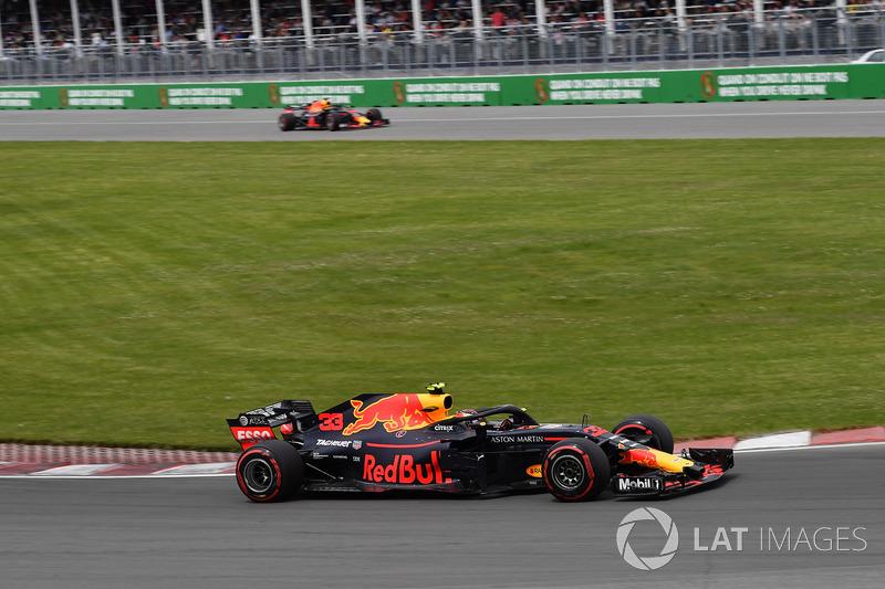 Max Verstappen, Red Bull Racing RB14 and Daniel Ricciardo, Red Bull Racing RB14 exiting pit lane