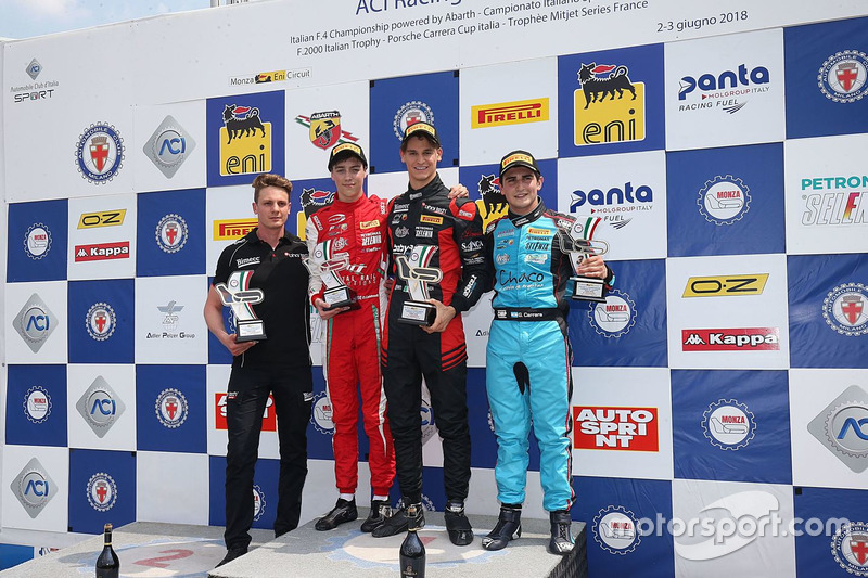 Podio Gara 1: il secondo classificato Olli Caldwell, Prema Theodore Racing, il vincitore Leonardo Lorandi, Bhaitech, il terzo classificato Giorgio Carrara, Jenzer Motorsport