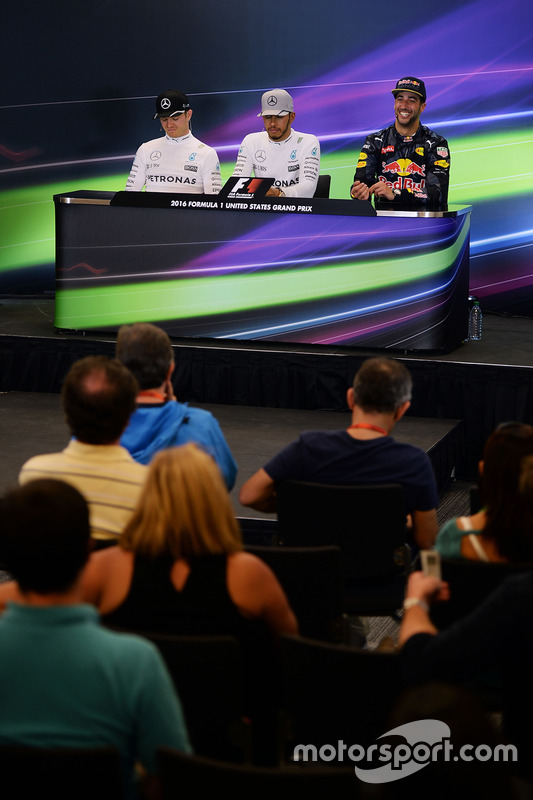 Pressekonferenz: 1. Lewis Hamilton, Mercedes AMG F1; 2 Nico Rosberg, Mercedes AMG F1; 3. Daniel Ricc