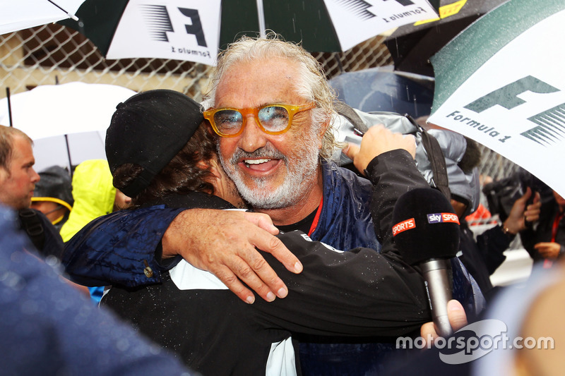 Flavio Briatore, with Fernando Alonso, McLaren on the grid