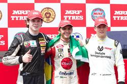 Race 1 winner Pietro Fittipaldi, second place Harrison Newey, third place Mick Schumacher