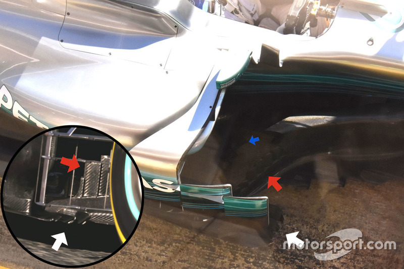 Mercedes AMG F1 W08, turning vanes