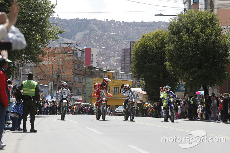 #42 Hero MotoSports Team Rally: CS Santosh, #8 Himoinsa Racing Team KTM: Gerard Farrés, #87 Team Ped