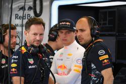 Christian Horner, Red Bull Racing Teambaas, Max Verstappen, Red Bull Racing en Gianpiero Lambiase, Red Bull Racing Race Engineer