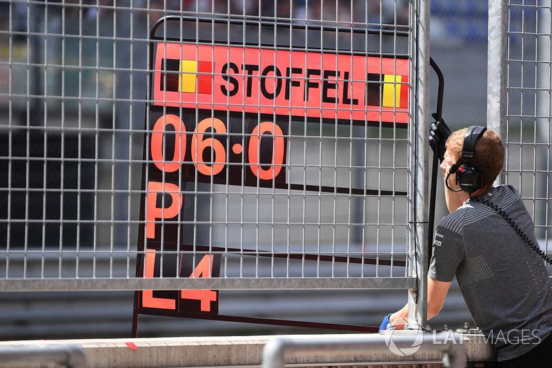 Pit board for Stoffel Vandoorne, McLaren