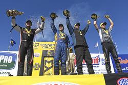 Top Fuel winner Steve Torrence, Funny Car winner Ron Capps, Pro Stock winner Bo Butner, Pro Stock Bike winner LE Tonglet