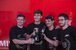 George Russell, ART Grand Prix celebrates with his team
