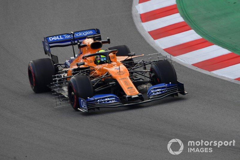 Lando Norris, McLaren MCL34 con sensori aerodinamici