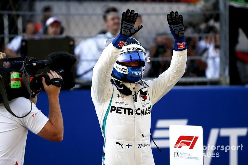 Le poleman Valtteri Bottas, Mercedes AMG F1 W09