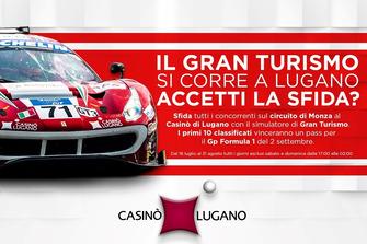 Simulateur Grand Tourisme au Casino de Lugano, affiche publicitaire