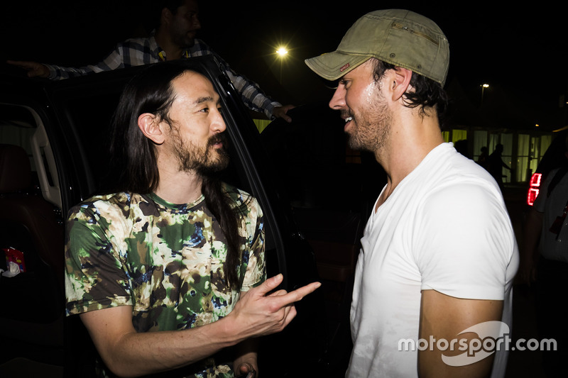 DJ Steve Aoki performs with Enrique Iglesias