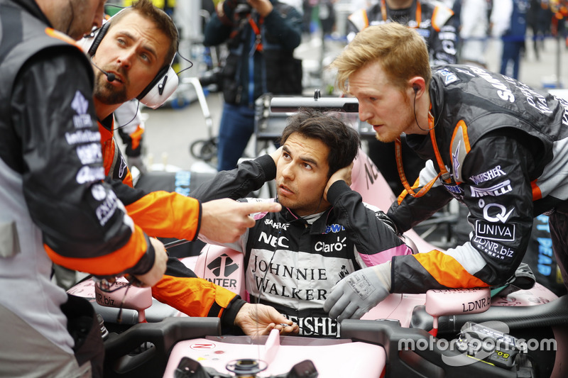 Sergio Perez, Force India, on the grid