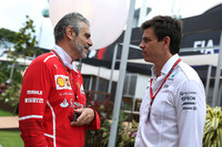 Maurizio Arrivabene, Ferrari Team Principal and Toto Wolff, Mercedes AMG F1 Director of Motorsport