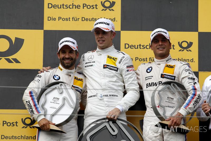 Подіум: переможець Пол ді Реста, Mercedes-AMG Team HWA, Mercedes-AMG C63 DTM, друге місце Тімо Глок, BMW Team RMG, BMW M4 DTM, третє місце Бруно Спенглер, BMW Team RBM, BMW M4 DTM