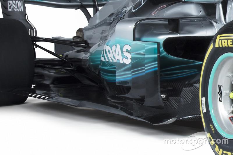 Les pontons de la Mercedes AMG F1 W08