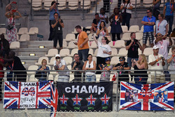 Lewis Hamilton, Mercedes AMG F1 fans and banners