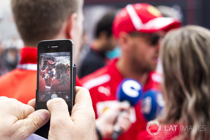 Sebastian Vettel, Ferrari talks with the media