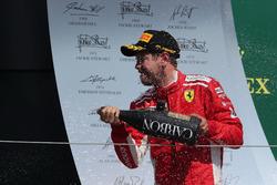 Sebastian Vettel, Ferrari celebrates on the podium