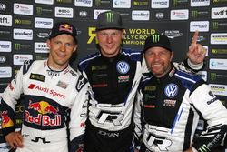 Podium: Winnaar Johan Kristoffersson, PSRX Volkswagen Sweden, tweede plaats Mattias Ekström, EKS Audi Sport, derde plaats Petter Solberg, PSRX Volkswagen Sweden