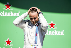 Felipe Massa, Williams, waves from the podium whilst celebrating after his final home Grand Prix
