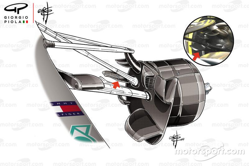 Mercedes W09 front brake fins, French GP