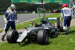 The Mercedes AMG F1 W07 Hybrid of Nico Rosberg, after he crashed in the third practice session