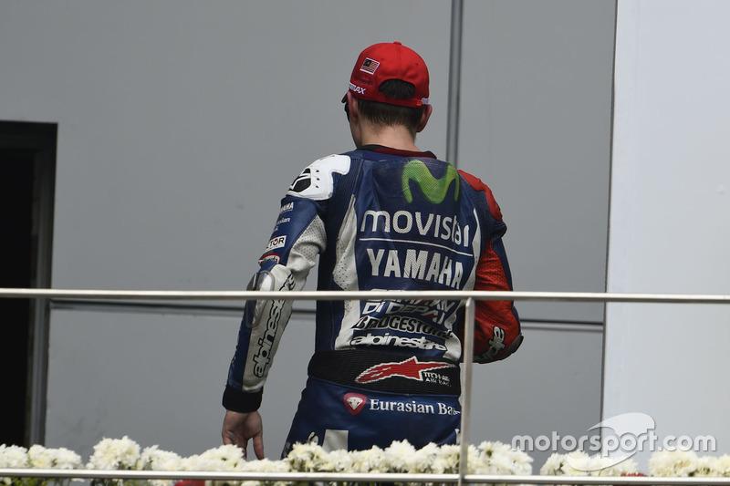 2. Jorge Lorenzo, Yamaha, verlässt das Podium vorzeitig