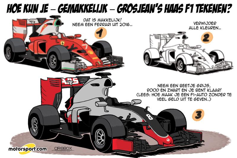 Cartoon van Cirebox - Hoe kun je - gemakkelijk - Grosjean's Haas F1 tekenen?