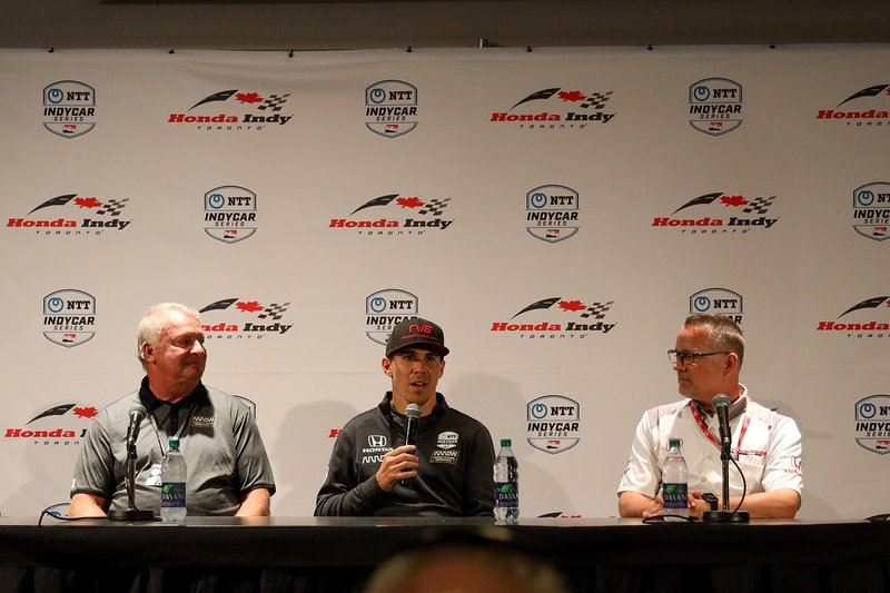 Mike Long, chairman, president and CEO of Arrow Electronics, Robert Wickens, and Ted Klaus, president of Honda Performance Development.