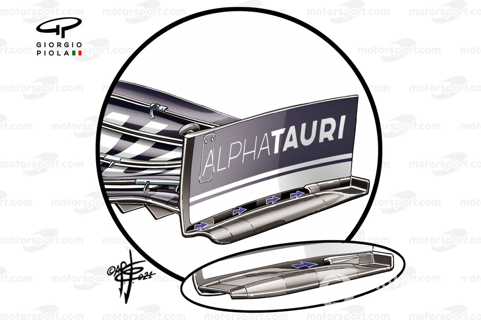 AlphaTauri AT02 new front wing end plate with arrows details, French GP