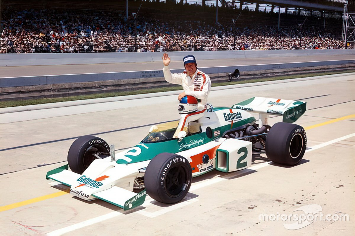 Rutherford's M16 carried Gatorade sponsorship in '75 and unfortunately 'only' finished second. The following year, he was back in orange... and back in Victory Lane.