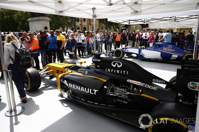 The Renault Sport F1 Team RS17 on the teams stand